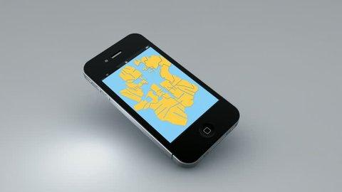 Smartphone 3D navigation map concept