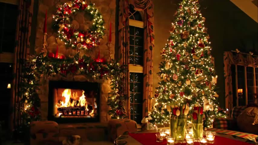 Fascinating Christmas tree New Year Eve time Noel lovely atmosphere festive domestic interior fireplace light decoration