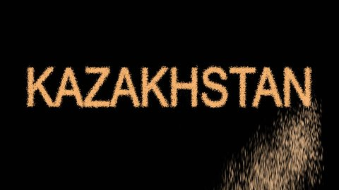 Country KAZAKHSTAN appears from the sand, then crumbles. Transparent alpha channel