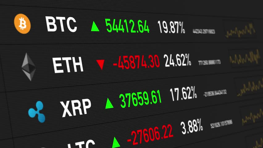 Bitcoin, Ether, Ripple prices.Cryptocurrencies digital money value going up and down FAST - BLACK BG | Shutterstock HD Video #32136376