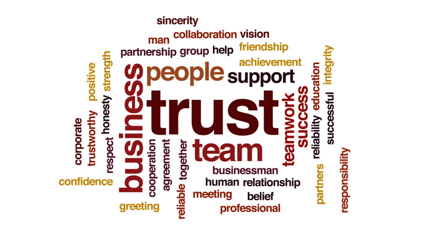 trust animated word cloud  text stock footage video  100