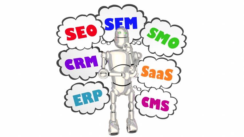New Technology Acronyms SEM SEO SMO ERP CMS CRM Robot 3d Animation