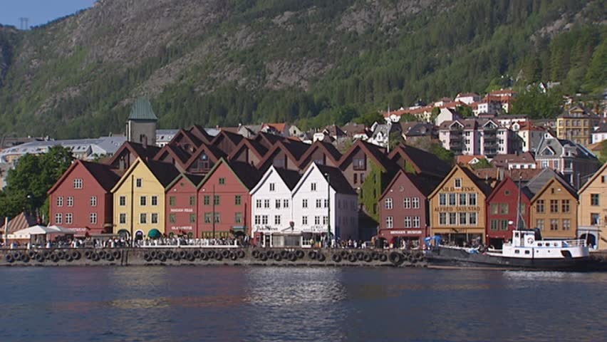 BERGEN, NORWAY: skyline hanseatic town of Bryggen. Bryggen was an important Hanseatic town from the 14th to the 16th century and is a World Heritage Site.