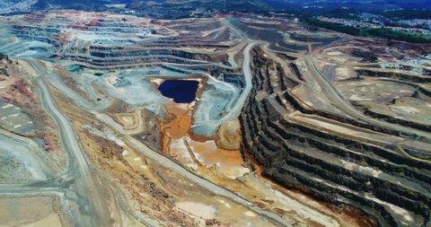 Copper mine open pit in Rio Tinto, aerial view, Spain