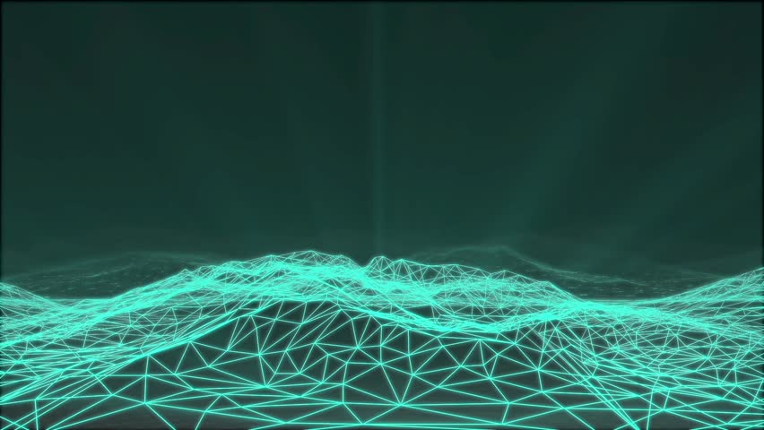 3D animation - Flying over an abstract geometric light structure of mountains