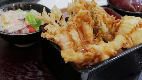 Tempura Donburi set, Japanese deep fried shrimp fish and vegetable on rice