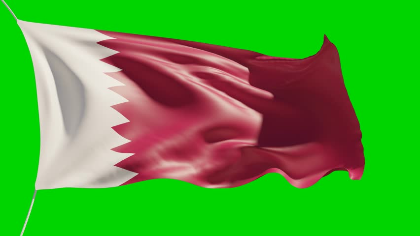 25 seconds fluttering Qatar National flag 4K animation footage with green background for keying