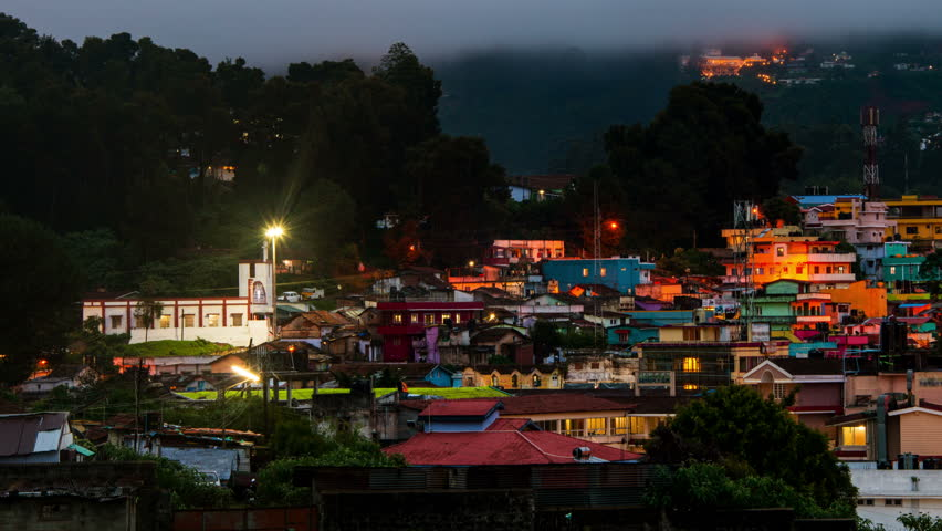 Ooty, India time-lapse from evening to night. Aerial view of Nilgiri  mountain