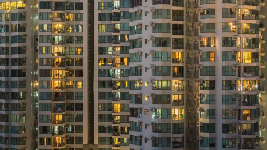 4k timelapse video of residential apartment buildings from day to night | Shutterstock HD Video #32248576