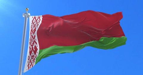 Belarus flag waving at wind in slow with bue sky, loop