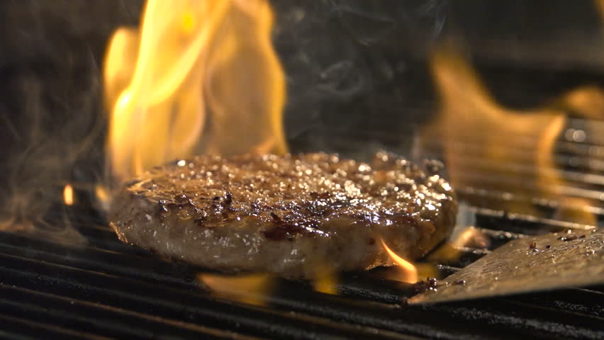 Aged prime rare roast grilling tenderloin fresh juicy beef filet with lines slow motion. Closeup blur macro concept of person cooked unhealthy satisfying hamburgers outdoors for friends picnic party | Shutterstock HD Video #32268286