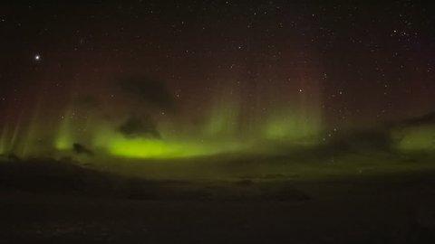 Aurora borealis in south Spitsbergen. Around the fjord Hornsund.