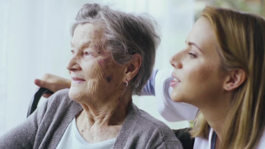 Health visitor and a senior woman during home visit. | Shutterstock HD Video #32273512