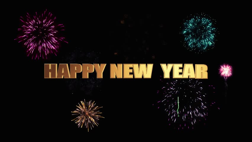 Golden letters happy new year soar into the dark night sky against a bright festive fireworks | Shutterstock HD Video #32275606