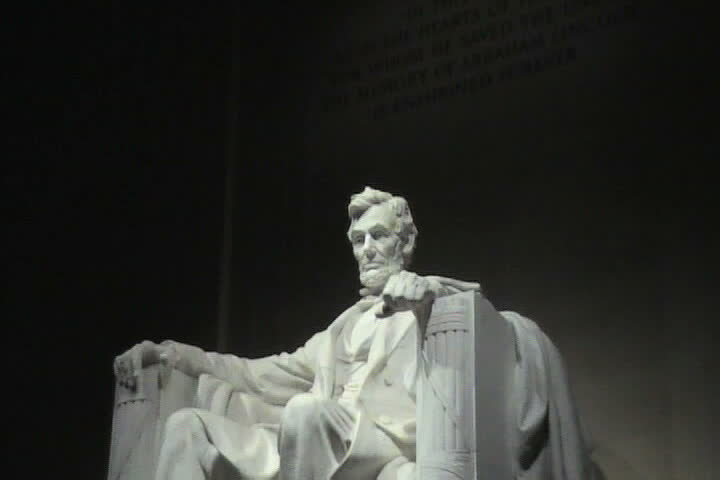 Statue of Abraham lincoln in Lincoln Memorial Washington DC at night