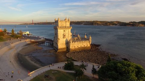 Lisbon, Portugal, aerial view of Belem Tower (Torre de Belem) by the Tagus river at sunset.