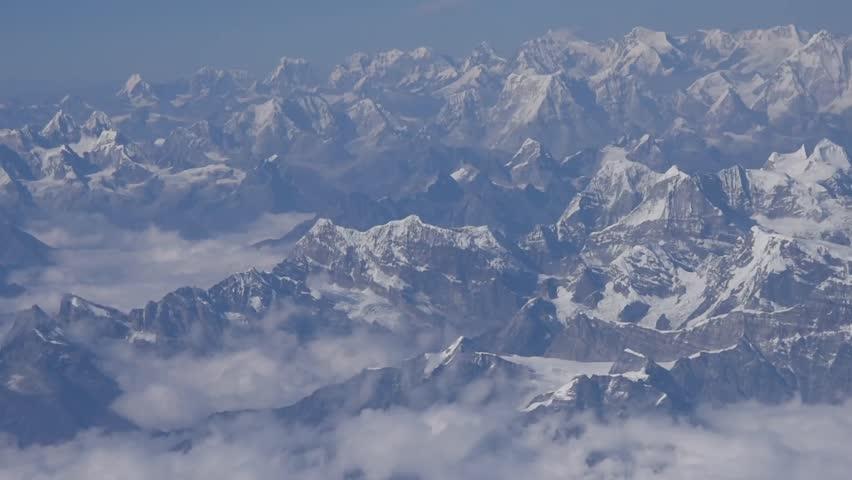 Aerial of Snow Capped Tibetian Himalayan Mountain Panorama