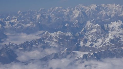 Aerial of Snow Capped Tibetian Himalayan Mountain Panorama