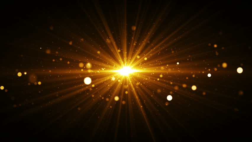 Abstract golden background with starburst. Seamless loop gold texture with particles coming from center.