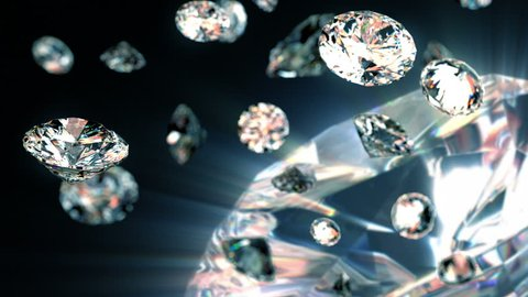 slowly falling diamonds, beautiful background. seamless looped 3d animation