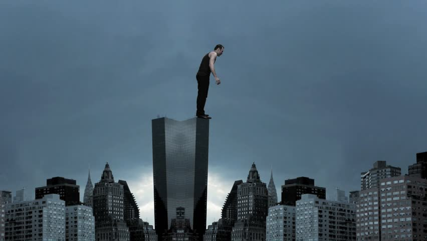 Man Climbs Skyscraper City Superhero Stock Footage Video 100 Royalty Free 3235876