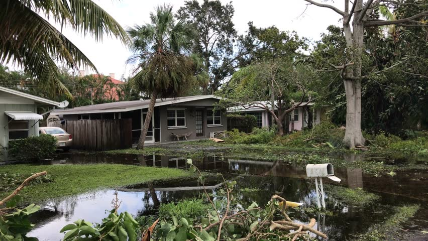 Florida - United States - September 11, 2017: Flood and devastation from hurricane Irma at neighborhood in Florida