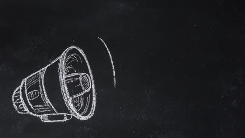 Stop motion drawing megaphone on black chalkboard. Paper lettering fake news | Shutterstock HD Video #32382379