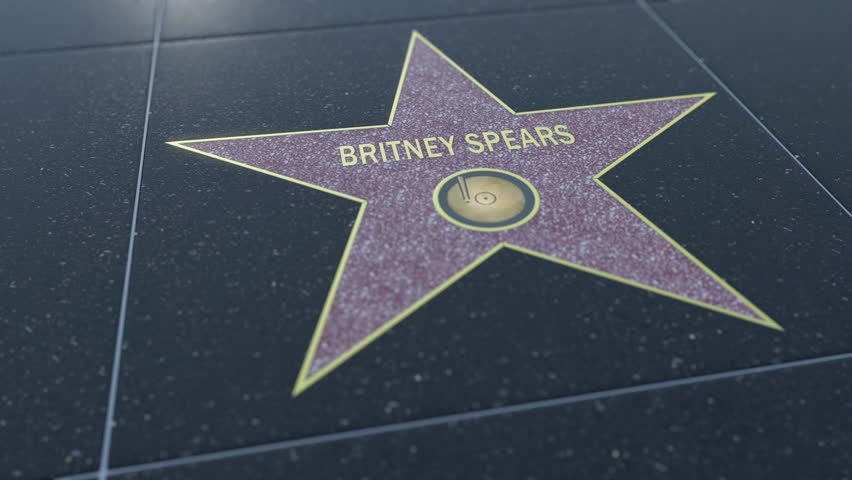 Hollywood Walk of Fame star with BRITNEY SPEARS inscription. Editorial clip