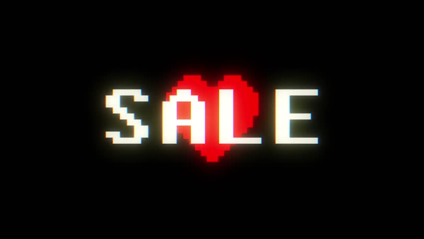 shiny pixel heart beat and sale on digital tv screen seamless loop glitch interference animation new dynamic holiday retro joyful colorful vintage video footage