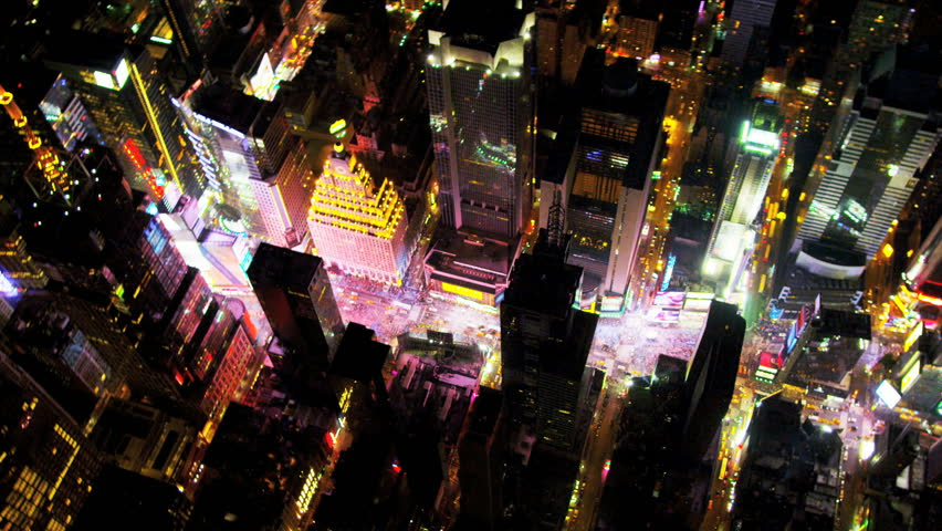 Aerial illuminated neon view theater land Times Square, Manhattan, New York