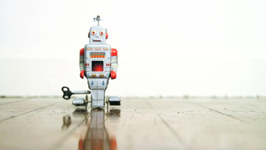 Robot toy on wooden floor
