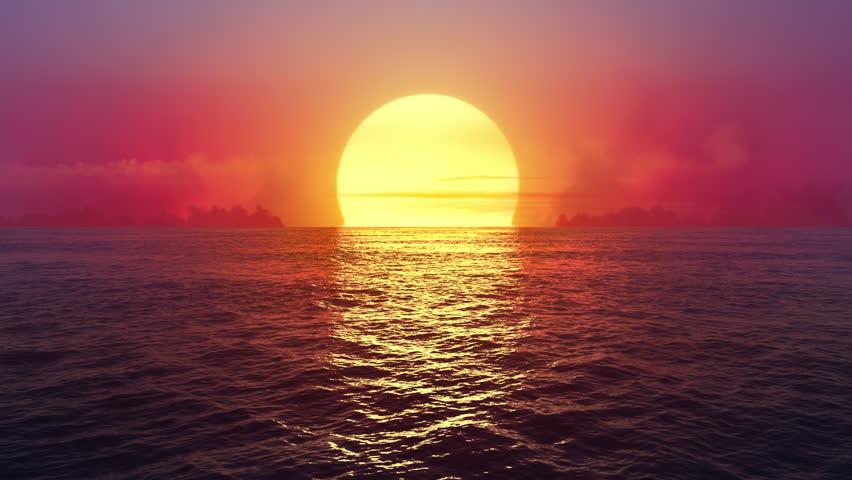 Fantasy sunset over seamlessly looped ocean.
