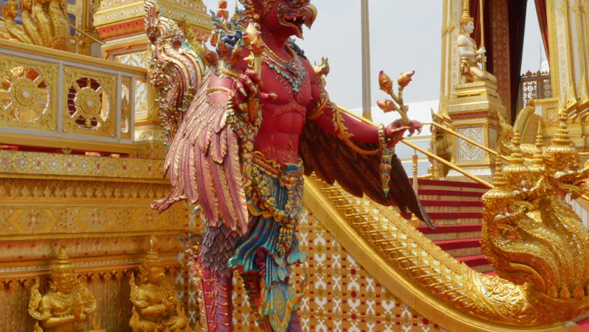red Garuda Sculpture in front of the Royal funeral pyre for King Bhumibol Adulyadej