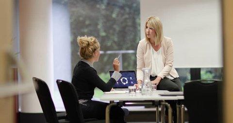 Senior businesswoman mentoring junior businesswoman