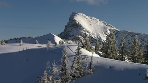 WS AERIAL Peak of Kitzbuehel Alps covered with snow / Tyrol, Austria