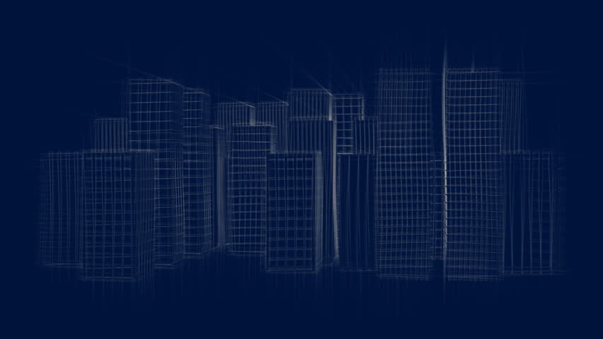 Architectural blueprint of contemporary buildings blue tint animated drawing of a city at night full hd hd stock footage clip malvernweather Images