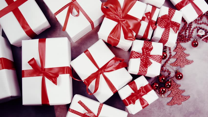 Moving gift rows in white and red stock footage video 22024867 hristmas background with decorations and gift boxes on vintage backgroundee text space negle Images