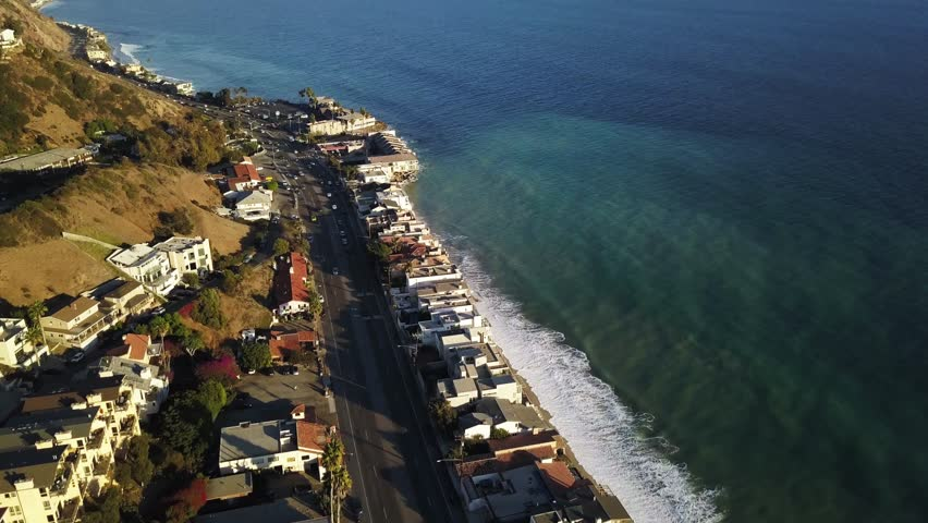 Malibu Highway AERIAL, LA Calif. Malibu is a city west of Los Angeles, California. It's known for its celebrity homes and beaches