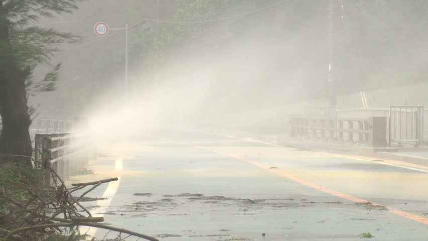 Spray Blows Over Road In Hurricane Winds - Shot in full HD 1920x1080 30p on Sony EX1 XDCAM.