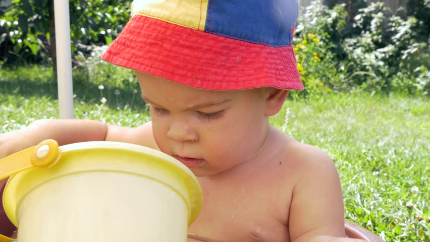 Cute Little Boy Bathing and Stock Footage Video (100% Royalty-free ... 59a8cc4aaa10