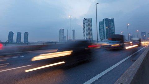 Timelapse video, traffic in Bangkok, Thailand at evening