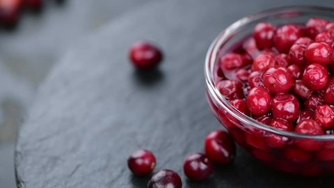 Portion of homemade preserved Cranberries (rotating, 4K, seamless loopable)