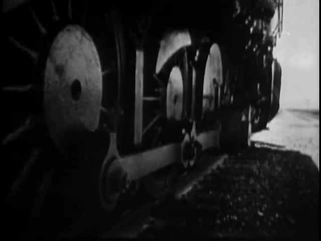 Montage of steam locomotive traveling cross country
