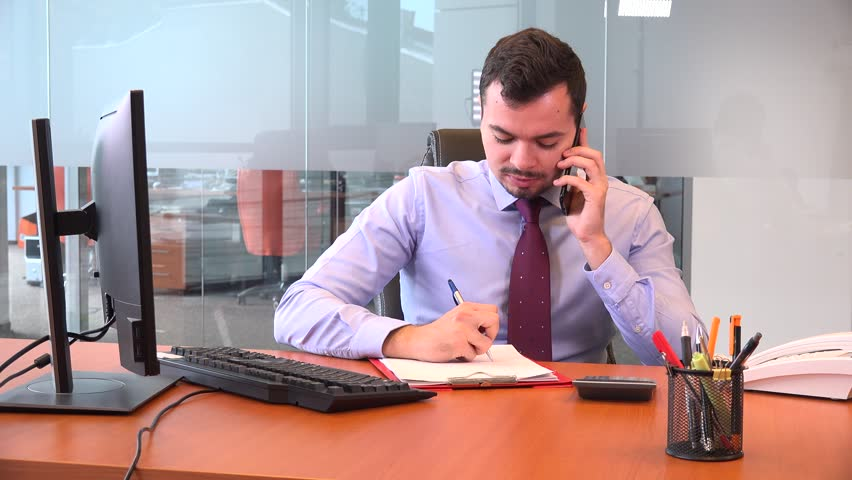 Cheerful leader corporate business people talking on cell phone clipboard notes | Shutterstock HD Video #32569756