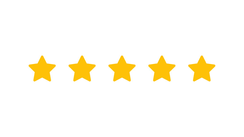 Rating Five Stars. Motion Graphics. Transparent Background.
