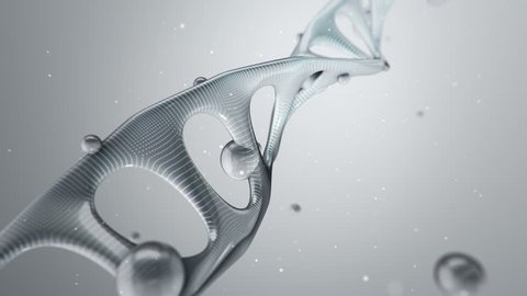 Animation rotation of model DNA spiral from glass and crystal, or with surface damage. Animation of seamless loop.