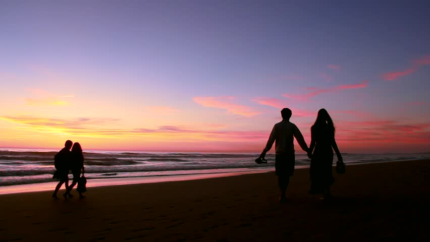 Silhouettes Of Two Couples Walking Stock Footage Video 100