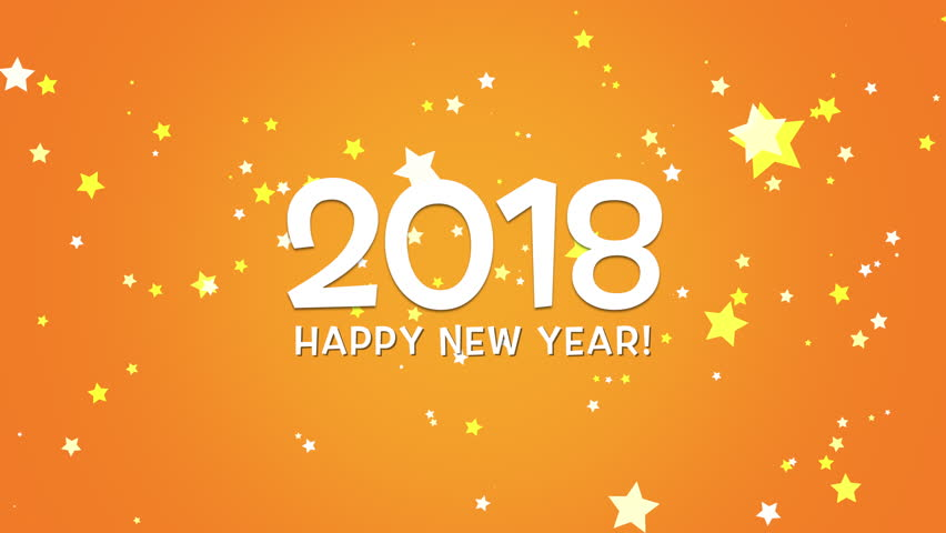 Happy New Year 2018 Text, Animated Footage In 4K. Close Up Numbers And Text