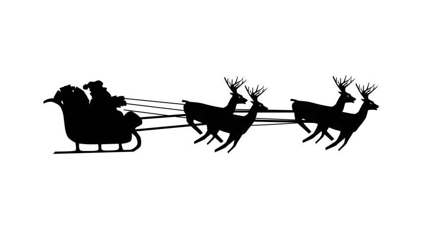 Christmas Santa Claus flying in his sleigh with Christmas gifts pulled by his reindeer. Silhouette Animation Video, Looping (Seamless). You can make a video of any length. Classic, traditional.