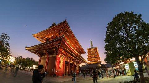 Tokyo city skyline day to night timelapse at Asakusa Temple (Senso-Ji), Tokyo, Japan 4K Time lapse